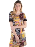 Women's All-over Printed Geometric Cut  Dress with Lace Trimming on Sleeves