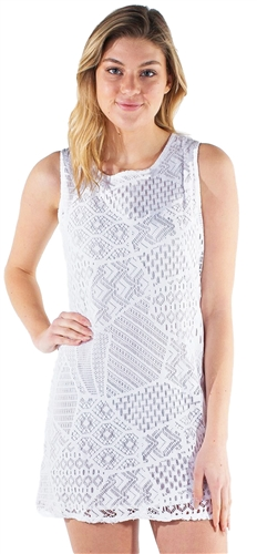 Women's Sleeveless Crochet Shift Dress
