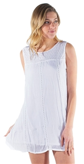 Women's Casual Shift Sun Dress with Lace and Embroidery Detailing
