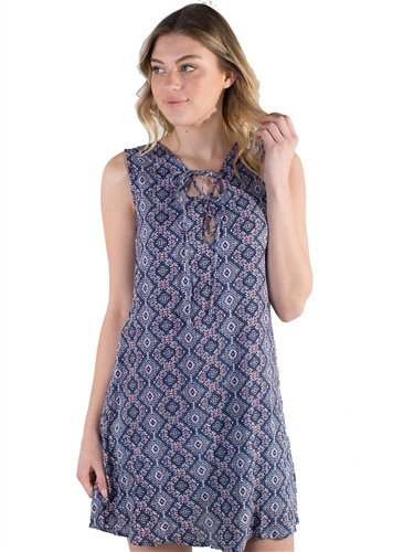 Women's Sleeveless Lace Up Shift Dress