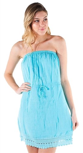 Women's Strapless Mini Dress with Embroidery Details