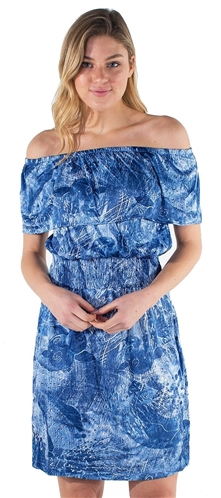 Women's Off Shoulder Dress with Flounce Layer, Elasticized Neckline and Waist Band
