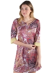 Women's Abstract Print 3/4 Sleeves Dress with Lace Trimmings