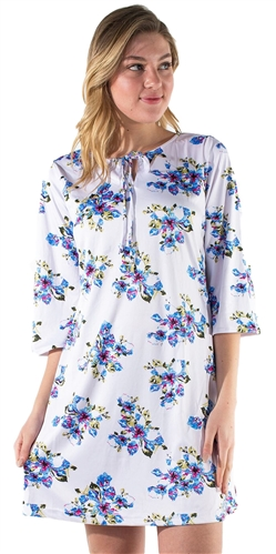 Women's All-over Floral Print 3/4 Kimono Sleeves Swing Dress