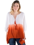 Women's Dip Dyed Ombre Tunic Top with Tassels