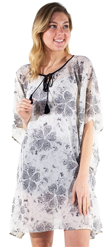 Women's Sheer Swim Cover Up Dress with Self Tie and Tassel Detail