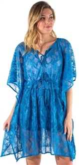 Women's Sheer Swim Cover Up Dress with Self Tie