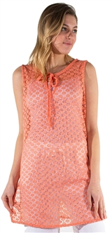 Ladies Crochet Lace Swim Cover Up  with Self Tie Neckline