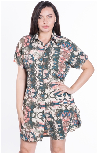Women's Printed Raw Cut Sleeve Hem Button Up Dresss