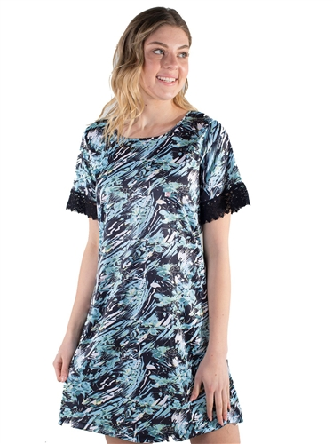 Women's All-over Floral Print with Lace Trimming on Arms