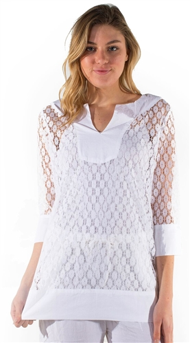 Ladies Sheer Lace Cover Up with Split Neckline/