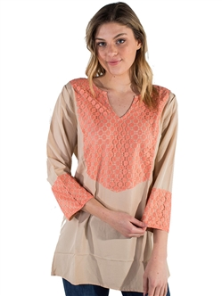 Women's Tunic with Split Neckline and Lace Accents