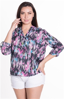 Ladies Printed Top with Quarter Sleeves