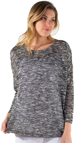 Women's Basic Space Dye 3/4 Sleeves Top