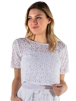 Women's Lined Hanging Lace Top with Dolman Sleeves