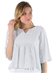 Ladies Hanging 3/4 Kimono Sleeve Top with Eyelet Details