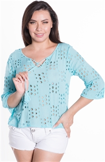 Ladies Hanging All Over Eyelet Top with Self Tie Tassel