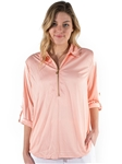 Ladies 3/4 Sleeve Collard Zip Up Top