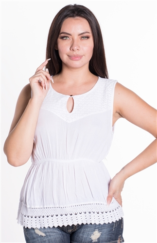 Women's Sleeveless Top with Elasticized Cinched Waist