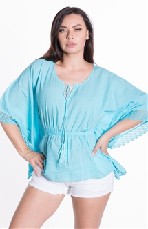 Ladies Tunic with Elasticized Waist and Embroidery Details on Hems