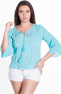 Ladies Hanging Flounce Sleeve Top with Self Tie Tassels
