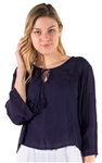 Ladies Hanging Kimono Sleeve Top with Self Tie Tassel and Crochet Details