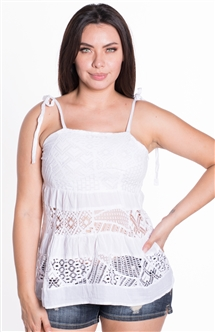 omen's Sleeveless Lace Crochet top with Self Tie Straps