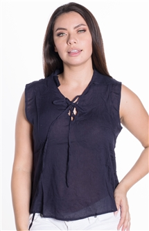Women's Lace Up Sleeveless Top with Collar