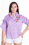 Ladies Button Up Shirt with Floral Embroidery Details