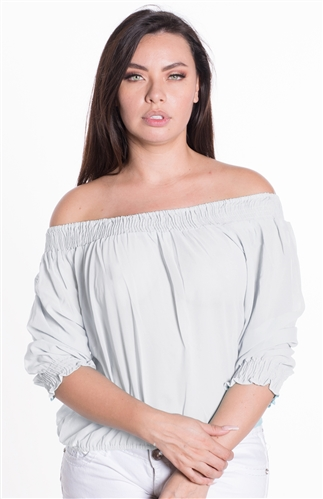 Ladies Sheer Elasticized Off Shoulder Top