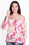 Ladies Sheer Floral Elasticized Off Shoulder Top