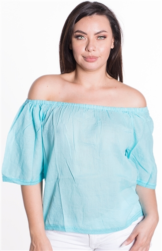Ladies Linen Elasticized Off Shoulder Top with Crochet Details on Hems