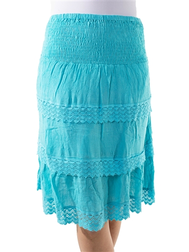 Ladies Smocked Flounce Tiered Ruffle Skirt