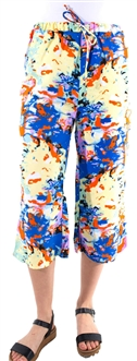 Women's Printed Capri With Elasticized Drawstring Waist