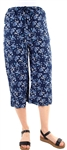 Women's Printed Culottes With Elasticized Drawstring Waist