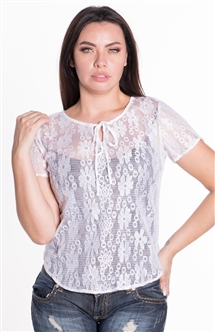 Women's Sheer Lace Top with Self Tie Front