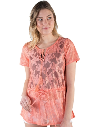 Women's Lace Swim Cover Up with Tassels and Cinched Self Tie Waist
