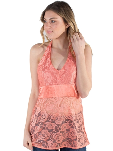 Women's Sheer Lace Backless Top With Self Tie Halter Neck