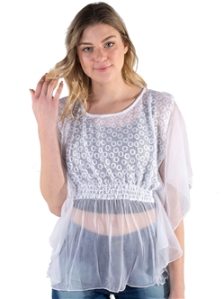 Women's Sheer Lace Top with Dolman Sleeves