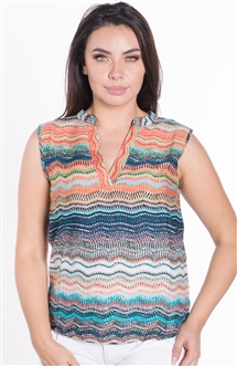 Ladies Printed Sleeveless Shirt