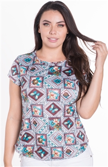 Ladies Printed Short Sleeve Top with Keyhole Back Closure