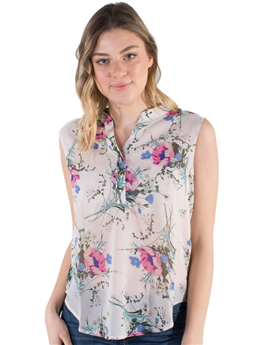 Ladies Butterfly Printed Sleeveless Shirt