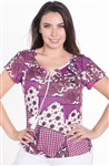 Ladies Printed Short Sleeve Top with Self Tie Tassels