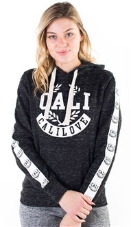 "Women's Space Dye, Pullover Hoodie with ""Cali Love""  Print and Side Tape Details/"