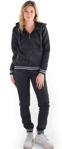Women's Melange, Jacket and Jogger Set with Fur Lining on Hood