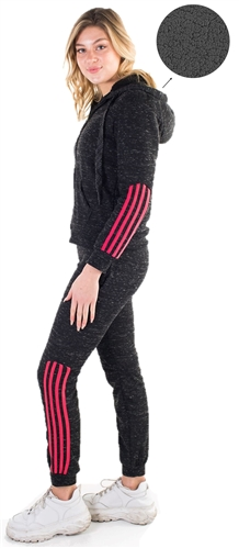 Women's Space Dye, Faux Sherpa Lined Hoodie and Jogger Set with Three Side Stripes