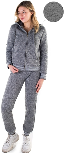 Women's Melange, Faux Sherpa Lined Hoodie and Jogger Set
