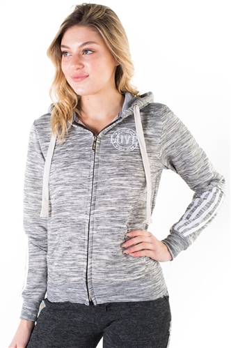 "Women's Space Dye, Zip Up Hoodie with ""Love"" Embroidery and Print"