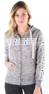 "Women's Space Dye, Zip Up Hoodie with ""Flawless"" Print and Side Tape Details/"