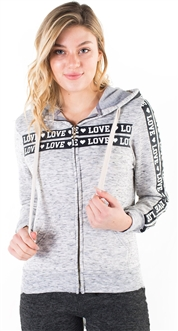"Women's Space Dye, Zip Up Hoodie with ""Love"" Print and Side Tape Details/"